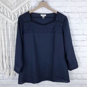 Ann Taylor LOFT Navy quilted detail top